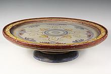 - LAZY SUSAN - Painted Hardwood Round Center Server, two-part, rotating on ball bearings, with overall decoration, glass top held by mo