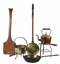 (7) EARLY AMERICAN KITCHEN ITEMS - Including: (2) Brass & Iron Trivets; Brass Pot with Iron Handle; Large Copper Hot Water Pot; Brass B