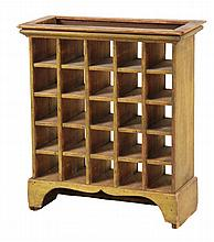 POSTAL SORTING CABINET - 19th c. Glass Front Cabinet in old yellow paint over pine, with molded cornice, recessed top, five rows of fiv