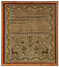 MAINE NEEDLEWORK SAMPLER by Emily Brush, circa 1830s, on linen