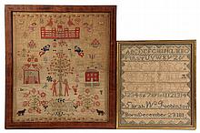 (2) MAINE NEEDLEWORK SAMPLERS from the Robinson family of Otisfield, ME