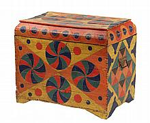 PAINT DECORATED TRUNK - 19th c. Continental Lift-Top Trunk with coffin shaped lid, lightweight, bright polychrome incised geometric and
