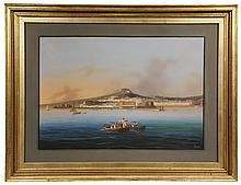 """- EMMANUEL MEURIS, (Italy, 1894-1969); View of Naples from the Bay, gouache on paper, signed """"Meuris"""" lower right. In etched gilt cove"""