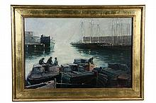 EDWARD A. PAGE; (MA, 1850-1928)- Harbor Scene with Barges and Schooners at Warehouses, oil on canvas, signed lr and dated 1914, in r...
