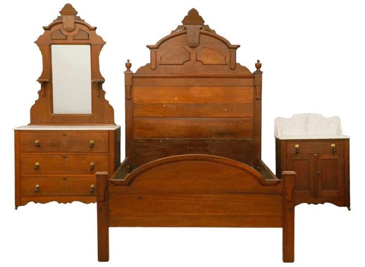3 pc american walnut marble top bedroom suite for American walnut bedroom furniture