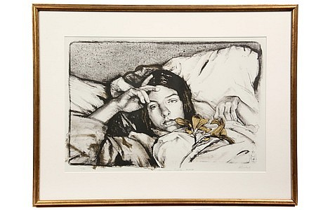 Signed Litho Woman w/ Lilies by Sigmund Abeles AP
