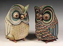 PAIR OF WOOD CARVINGS - Oaxacan Painted Figures of Owls, mid 20th c