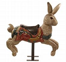 CAROUSEL FIGURE - Hand carved Painted Wood Figure of a Running Rabbit with Saddle, adult sized, on rigid metal stand, no pole. Circa 19