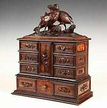 CIGAR HUMIDOR - Fancy French Dresser Form surmounted by bird carving on hinged lid that has attached, hinged locking center flap, pivot