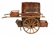 COCA-COLA PROMOTIONAL CART - Rare 1960s Vintage Oak & Wicker Picnic Cart as featured on the 1958 issue Coca-Cola oblong tin tray. Comes