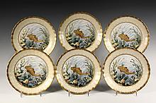 (6) LIMOGES FISH PLATES - Marked 'Elite', with scalloped and fluted ivory and gilt edge, the same fish on each plate rendered in gold