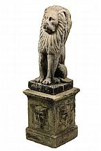 CAST STONE GARDEN ORNAMENT - Two-Part Sculpture of a Seated Lion on a 'Green Man' plinth, from Scarborough, Maine estate. 40