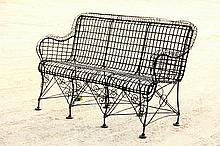 FRENCH WIRE GARDEN SETTEE - 19th c. Heavy Wirework Three-Seater in black paint, with rolled arms & back, scrollwork brackets, eight leg
