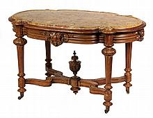 VICTORIAN CENTER TABLE - Renaissance Revival Mahogany Library Table with molded and shaped puddingstone top, ornately carved frame, mol