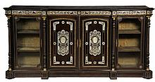 ITALIAN CREDENZA - Greek Revival Cabinet in ebonized walnut inlaid with bone, having gilt ormolu mounts