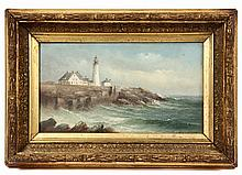 VIEW OF THE PORTLAND HEADLIGHT, MAINE - GEORGE M. HATHAWAY, (MA/ME, 1852-1903), signed lower right, in original gilt gesso frame, OS: 9
