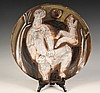 ART POTTERY CHARGER - Redware Charger with Incised Faience Glazes, depicting two women, by Jacques Innocenti (1926-1958), from the stud, Jacques Innocenti, Click for value