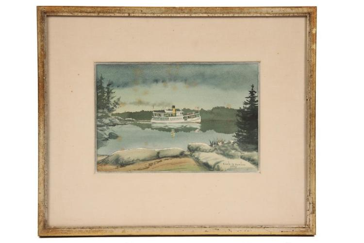 EARLE G. BARLOW; (20th c Maine), Coastal Steamer, w/c & gouche, signed lr and dated 1970, in gold stick frame, matted and glazed, SS...