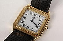 WRISTWATCH - Man's Square Face 18K Yellow Gold Wristwatch marked Cartier Paris, SN 960541154, with lizard grain leather strap.