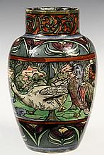 - ART DECO POTTERY ART VASE - Trogon Ware Vase by Roger Dean for Thomas Forester & Sons, decorated with geese, signed on the underside