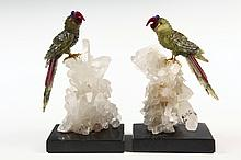 PAIR OF HARDSTONE CARVINGS ON ROCK CRYSTAL BASES - High Quality Figures of Parrots in semi-precious stones, with gold plated feet, on n