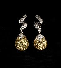 EARRINGS - 18K White Gold, Yellow Sapphire, and Diamond Ear Pendants, domed teardrop shape pave set with yellow sapphires with a diamon