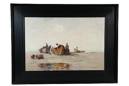 OOC Painting Fishermen Repair Nets Edward A Page MA