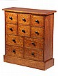 SPICE CABINET - Birds Eye Maple Cabinet, possibly New Hampshire, with overhanging top and platform base, contrasting mushroom knobs, pi