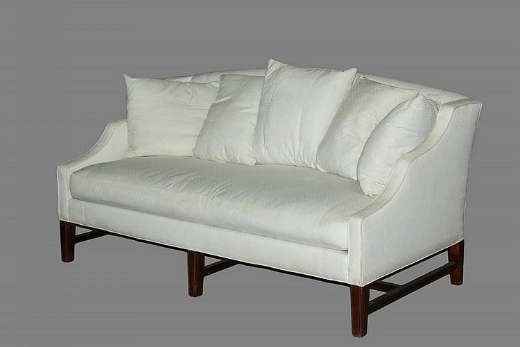 Awe Inspiring Hepplewhite Style Sofa White Cotton Brocade Upholstery Ha Theyellowbook Wood Chair Design Ideas Theyellowbookinfo