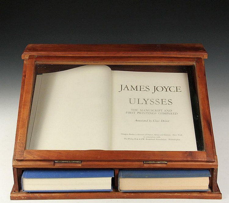 Old Book Display Case ~ Rare vol set book facsimile in display case james joyc
