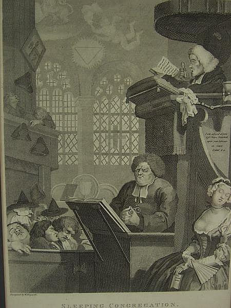 Engraving Sleeping Congregation Hogarth Cook