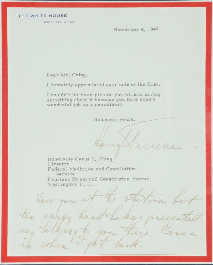 FRAMED NOV 1948 LETTER FROM PRESIDENT HARRY TRUMAN TO CYRUS