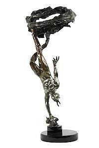 Bronze Sculpture 'Rain Pillar' Mary L Snowden CA