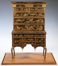 HARRY SMITH MINIATURE CHINOISERIE CHEST ON FRAME