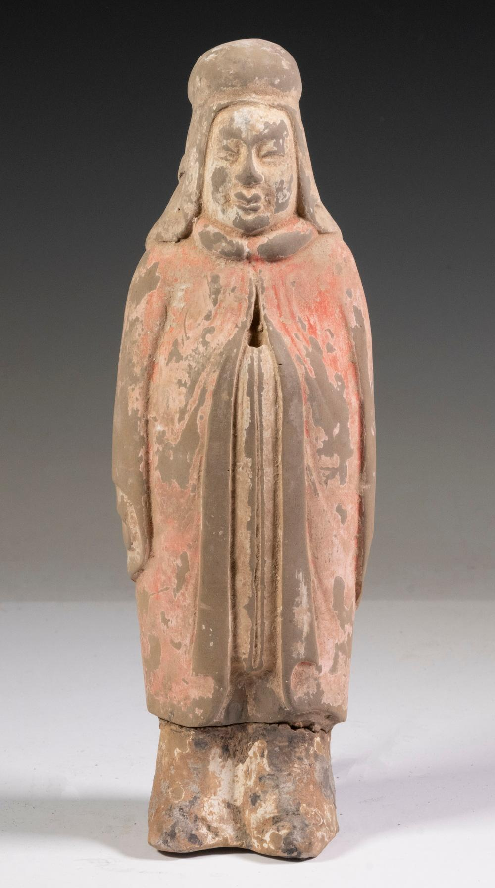 CHINESE NORTHERN QI (550-577 AD) STANDING POTTERY PRIEST