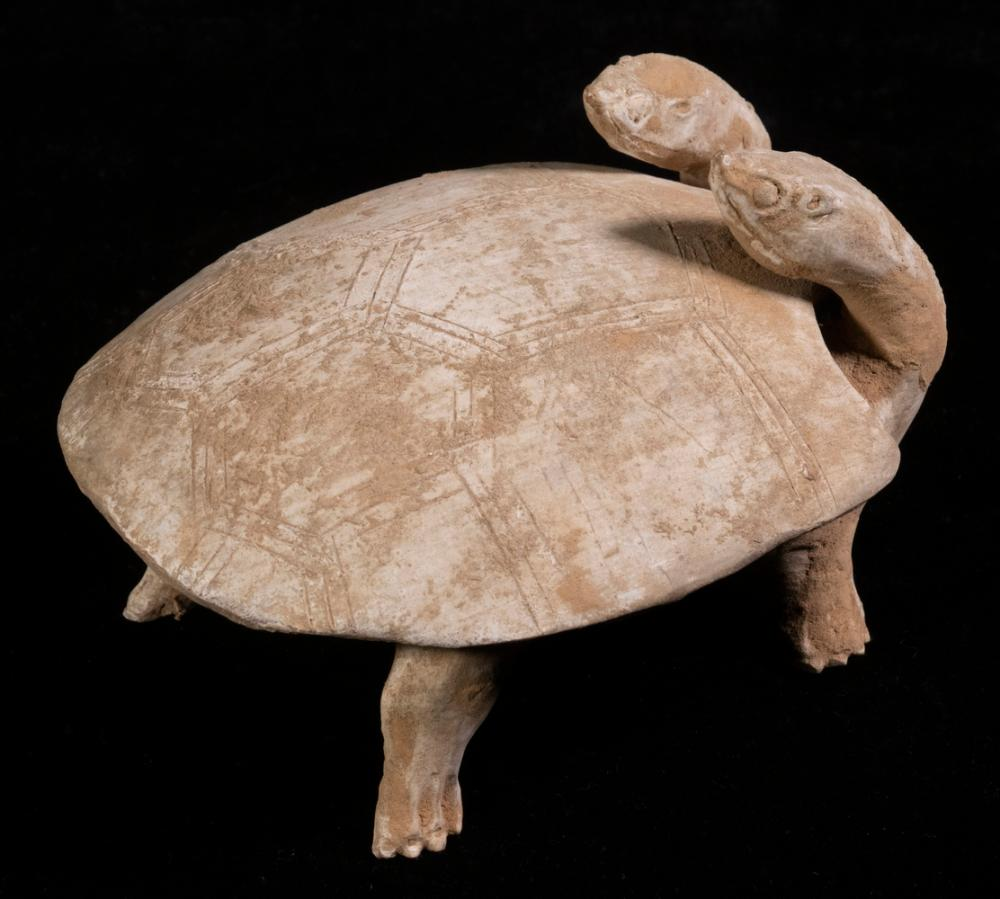 RARE CHINESE HAN DYNASTY TWO-HEADED TORTOISE FORM COVERED INK STONE