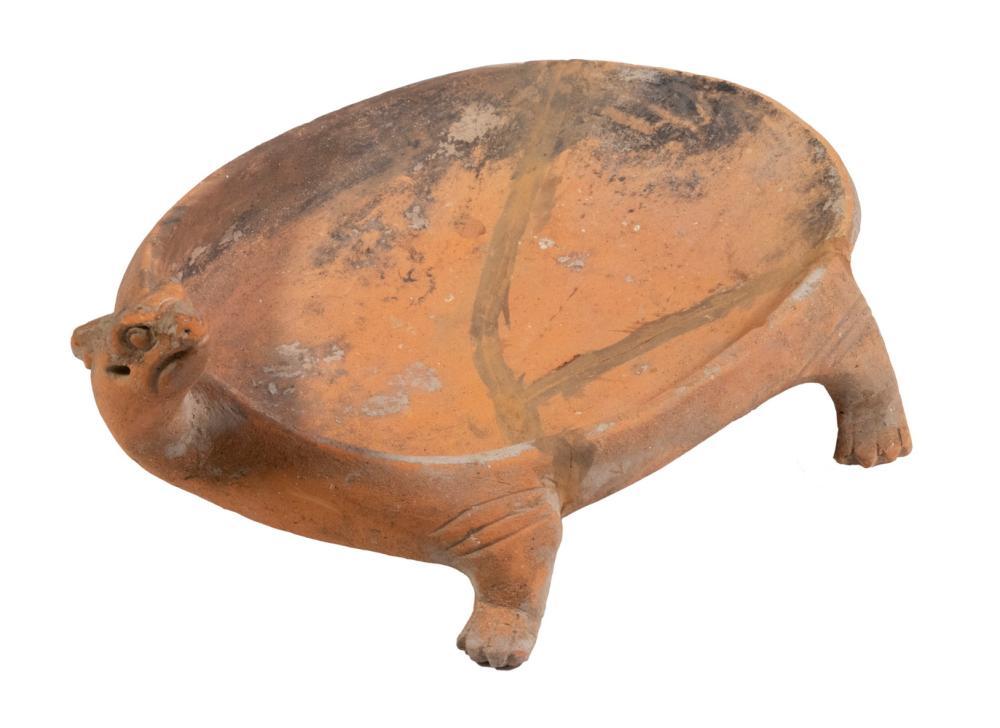 CHINESE HAN DYNASTY TORTOISE FORM POTTERY INKSTONE