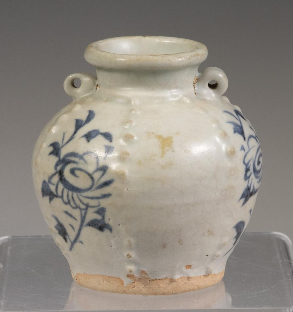 CHINESE YUAN DYNASTY (1250-1368) 14TH C. BLUE AND WHITE MINIATURE JAR