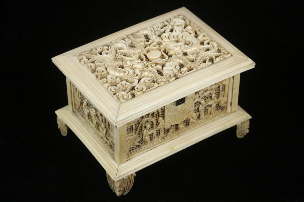 19TH C. CHINESE IVORY CRICKET BOX