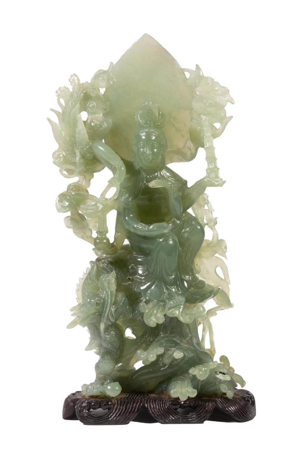 LARGE CHINESE JADE FIGURE OF A FEMALE DEITY SEATED ON A DRAGON, 20TH C.