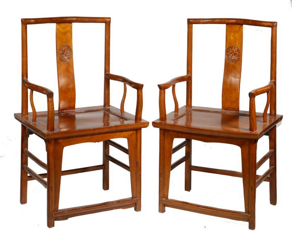 PR OF 19TH C. CHINESE ANCESTRAL ARMCHAIRS