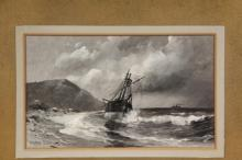 FREDERICK PANSING (Germany/NJ, 1841-1932) - Grounded Sailing Ship, Steamer on Horizon, a study in black and white, oil on artist's board, signed lower left