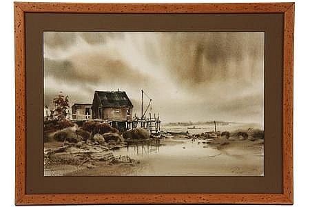 Watercolor 'Friendship Lobster Dock' Peter Rolfe ME