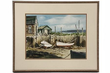 Watercolor 'Downeast Landing' by Peter Rolfe ME