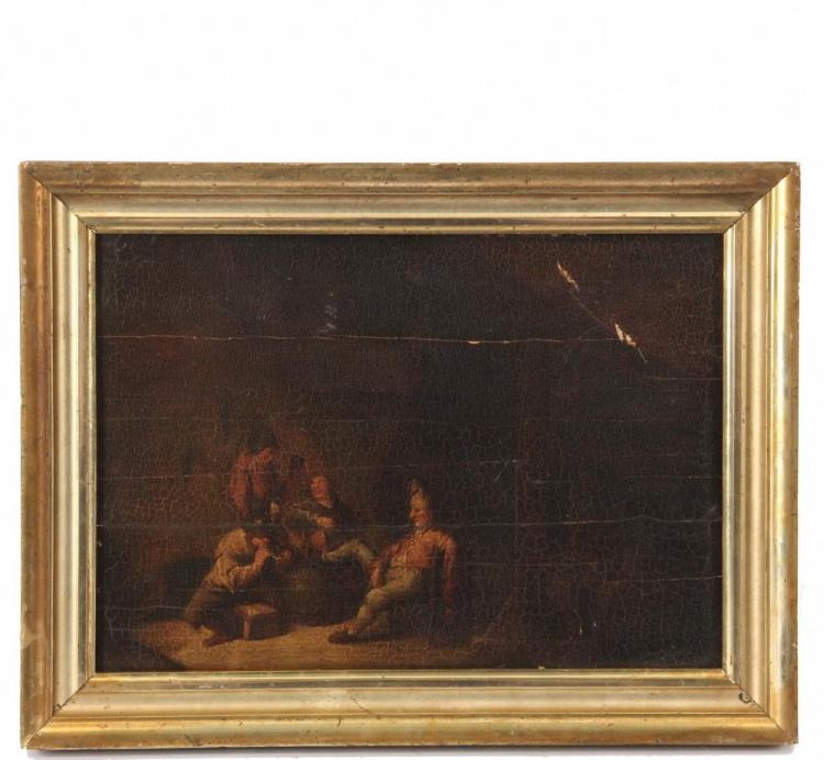 Old master painting tavern scene with four figures carousi for Classic house genre