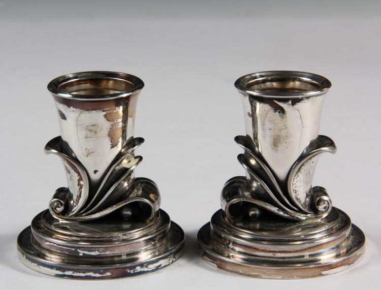 candlesticks pair of georg jensen sterling silver candlest. Black Bedroom Furniture Sets. Home Design Ideas