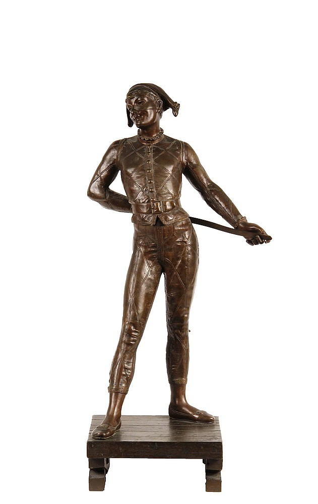 ALFRED PIERRE RICHARD (French, - 1884); Bronze Harlequin atop a Platform, signed