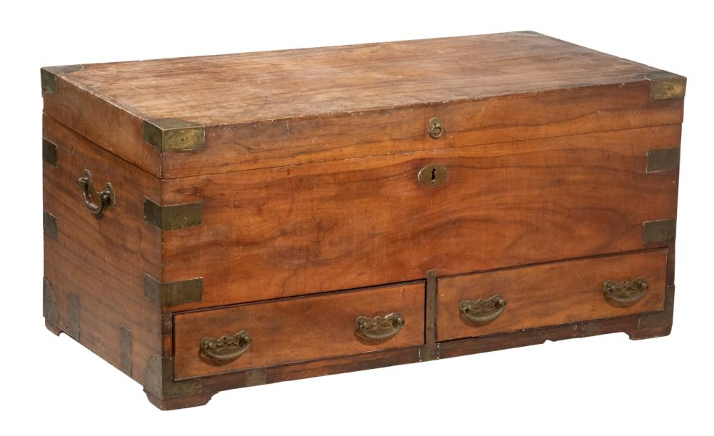 19TH C. CHINESE CAMPHORWOOD BRASS BOUND MULE CHEST