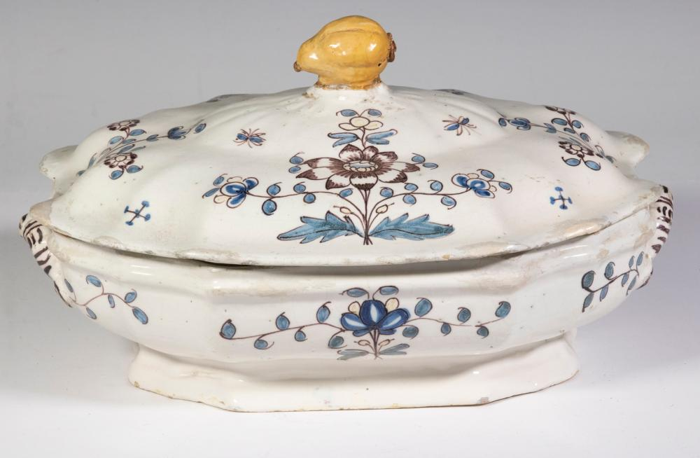 EARLY FRENCH FAIENCE LIDDED TUREEN