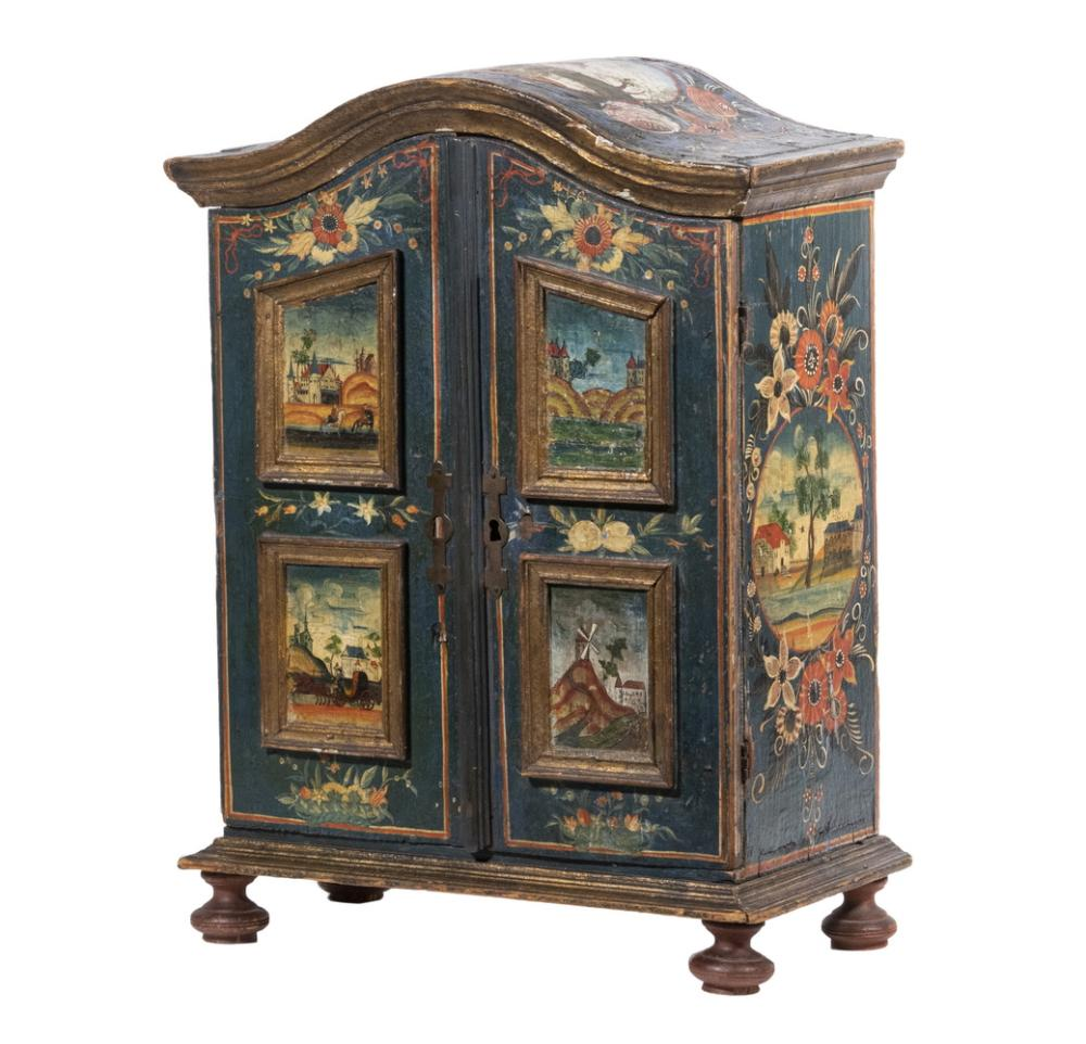 MINIATURE CONTINENTAL PAINTED ARMOIRE